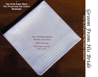 Grooms Gift Handkerchief From Bride 0711 Sign & Date Free  2 Wedding Hankie Styles and 8 Ink Colors. Grooms Wedding Handkerchief from Bride