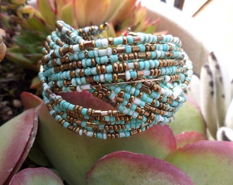 vintage bracelet with small turquoise beads