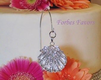 Rhinestone Seashell Single Wire Hanger Cake Topper