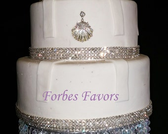 Real Rhinestone Sparkling Seashell Cake Push-In