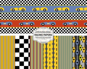 At the Races Pattern Digital Papers, Cars, Stripes, Checks, Flags, Racing Repeat Patterns