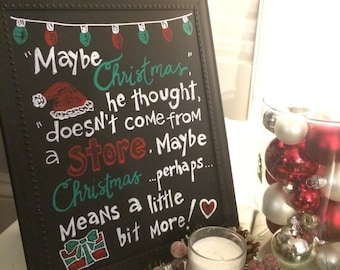 Handmade Chalkboard The Grinch Christmas Sign
