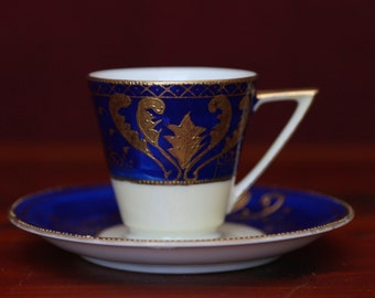 Vintage Handpainted Ucagco China Tea Cup and Saucer - Blue, White and Gold