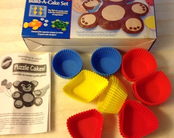 Wilton Puzzle Cakes, Build A Cake Set, Silicone cupcake muffin party cake designs