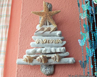 Christmas tree sea wood, wood derived wall Ref. 003 driftwood christmas tree