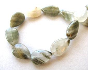 Seaweed Jasper, 12 beads, 8 by 12mm - # 370