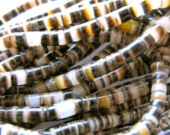 Black Lip shell heish, 23 inches long, 4mm #107