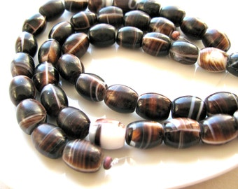African Glass beads, vintage glass, 20 beads, ethnic, brown and white, wedding beads, striped beads - # 212