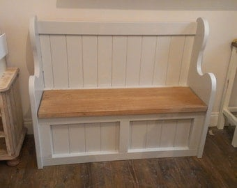 Solid Pine wooden pew bench with hinged seat storage, finished in french grey paint.