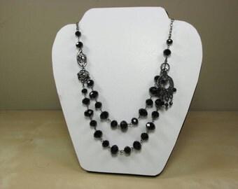 Black crystal glass necklace