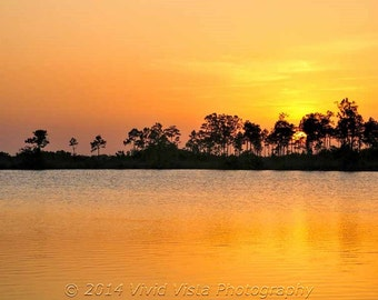 Everglades photography - Pine Glades Lake in the Everglades at sunset
