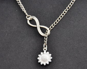Sunflower Necklace, Infinity Necklace, Bridesmaid gift idea, Bridal jewelry, Bridesmaid necklace, Wedding gift, Gift idea