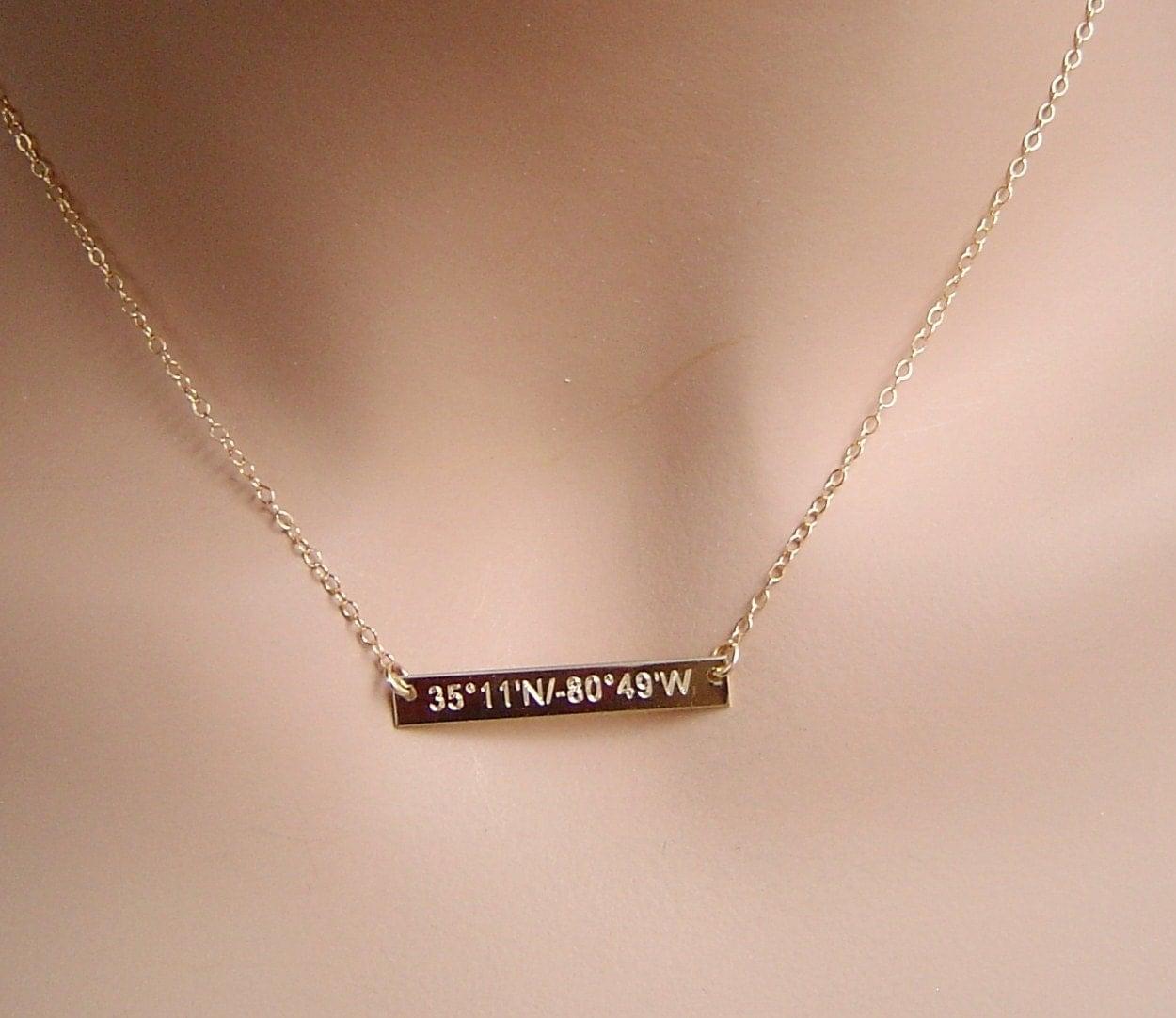big sale personalized gold bar necklace by personalanddesign. Black Bedroom Furniture Sets. Home Design Ideas