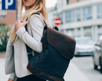 Asymmetric backpack | Grey - leather of canvas