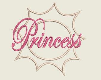 Machine Princess Applique Design, Princes Embroidery Design, Princess in a circle, Princess Crown Embroidery, Machine Applique Design 4X4
