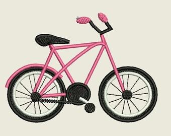 Bike Embroidery Design, Pink Bike Cruiser Embroidery Design,Girls Bike Embroidery,Machine Embroidery, Sports Embroidery,Wheels Embroidery