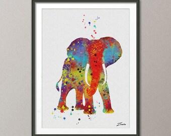 Elefante elefante imprimir acuarela elefante regalo del arte illustrationElephant cartel pared decoración colgante de pared arte decoración elefante cartel A039