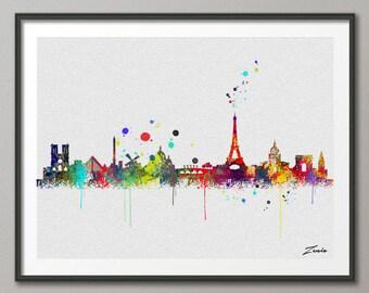 Paris skyline, Paris art, Paris print, Paris painting, Paris watercolor, watercolor Paris ,city watercolor print,city watercolor A095
