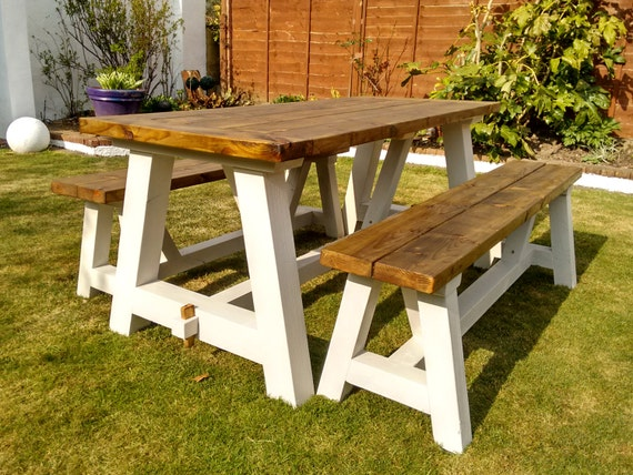 Farmhouse Garden Table And Benches Solid Pine A By