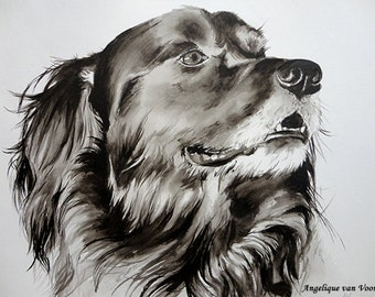 Black X dog in India Ink on paper
