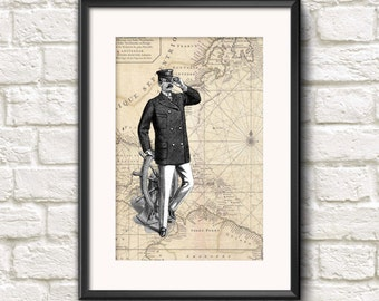 Nautical Captain Sea Man Vintage Old Map Art Print Archival Antique Style INSTANT DIGITAL DOWNLOAD 300 dpi Wall Hanging Gift Idea