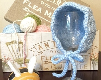 Sale - Organic Cotton Newborn Bonnet - Newborn photo prop