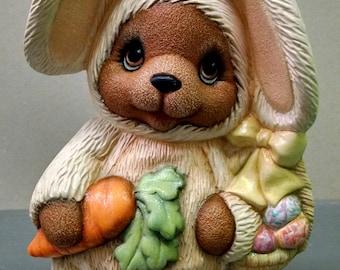 SALE--Easter Bunny Bear--Heirloom Quality--Hand-painted Ceramic--Holiday Figurine Decor--Seasonal Figurine Decor--Home Decor--Patio Decor