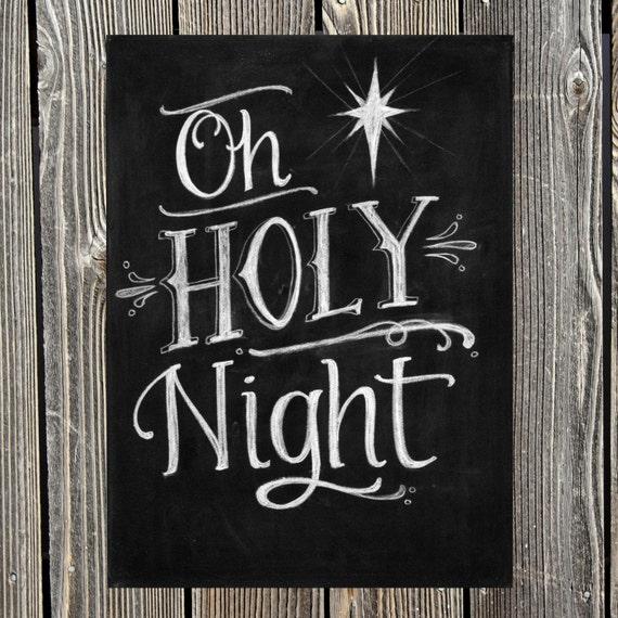 Oh Holy Night Digital Chalkboard Print by AutumnDesignsandCo
