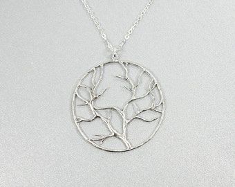Tree Charm Long Necklace . Leafy Branch Necklace . Dainty Necklace.
