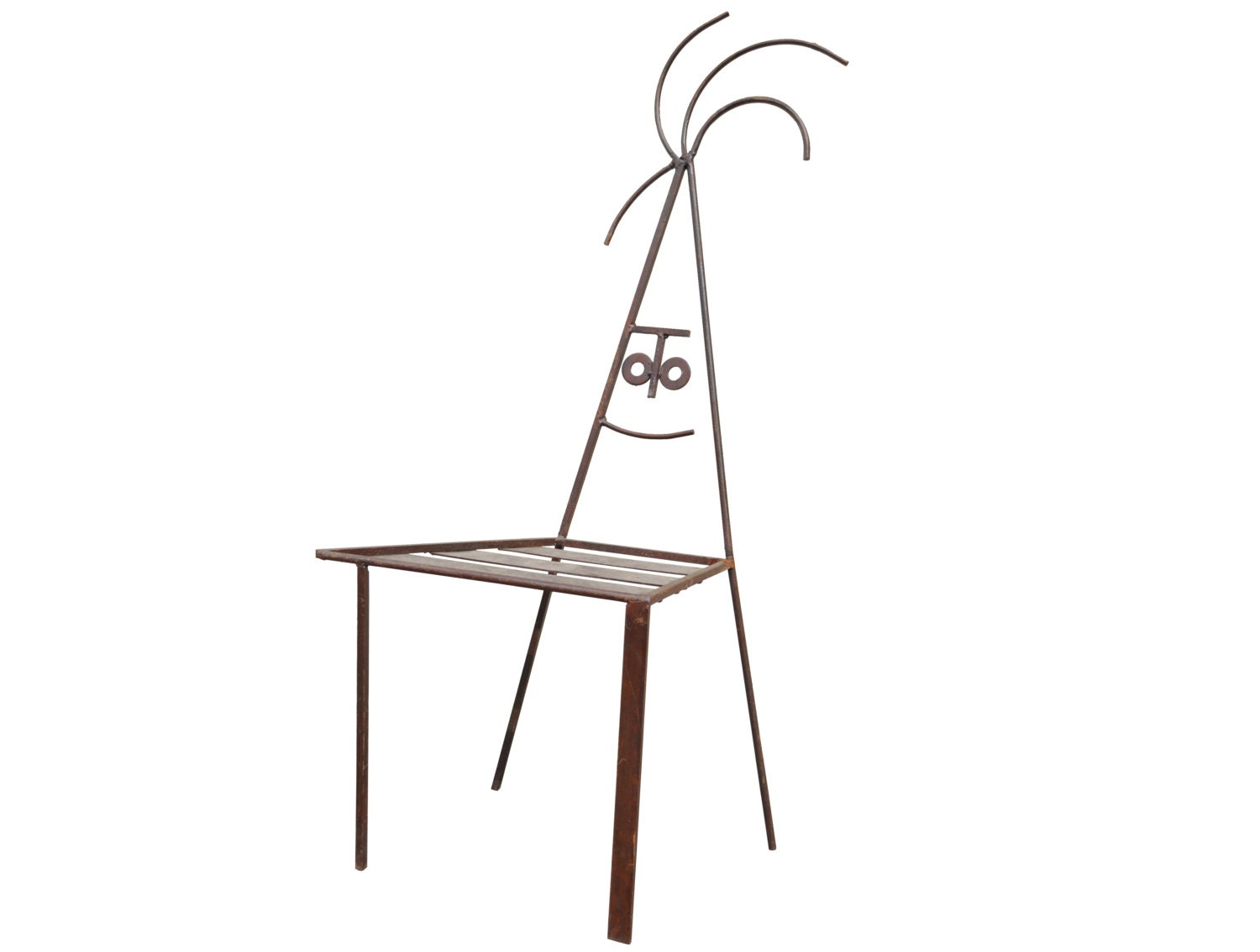 Modern style hand crafted wrought iron stick figure face patio chair a