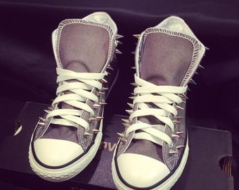 Spiked Converse Shoes Grey