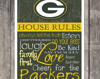 "Green Bay Packers House Rules 8x10 Glossy Photo ""Great for Framing"""