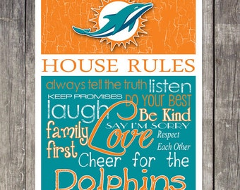 Miami Dolphins House Rules 4x4.1/2 Fridge Magnet