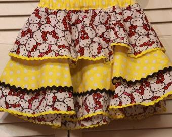 Girls Hello Kitty Ruffle Skirt three ruffles skirt with two different fabric patterns and zig-zag finish