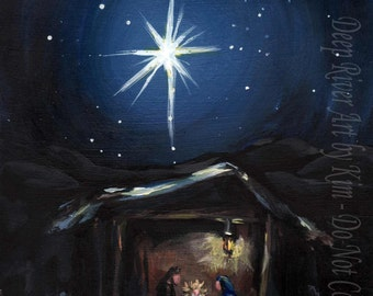 The Nativity, Christmas, holiday, print, wall decor, wall art, gift for her, Jesus, Christ, Star of Bethlehem