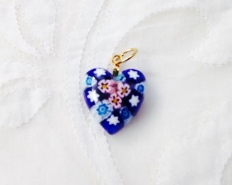 Blue Heart Milifiori Pendant, glass art heart jewllery.