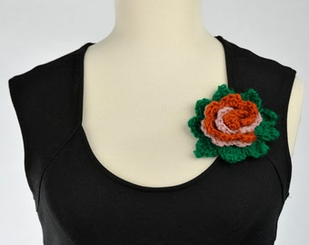 Wool flower brooch made in crochet