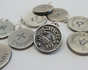 solid 925 sterling silver double sided zodiac signs charm pendant. Slightly oxidized. With ring.  Handmade. Wholesale. P100
