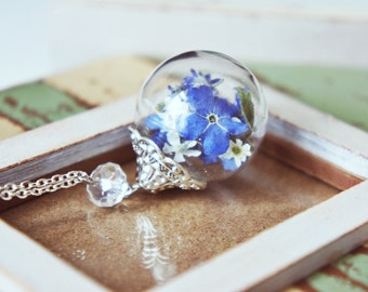 Forget me not necklace, Blue Forget Me Not, Glass Orb Filled With Real Forget Me Not, Mixed Flowers, Sweet gift for her