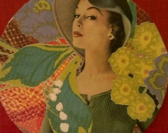 Lady in Green- original collage bar coaster