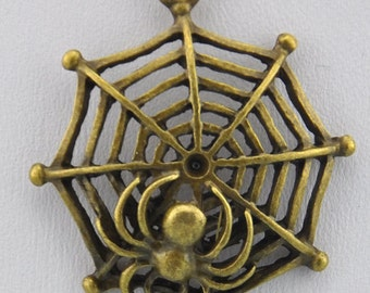 10 pcs of Antique Bronze Spider On The Net Charms Pendants 33mm  ---J00269