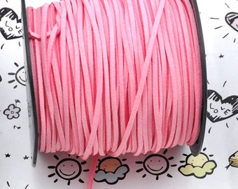 10 meters of Square pink Suede Faux Leather Ribbon Cords String ---J246