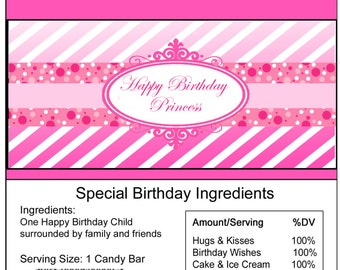 Pink Princess birthday Candy Bar Wrapper