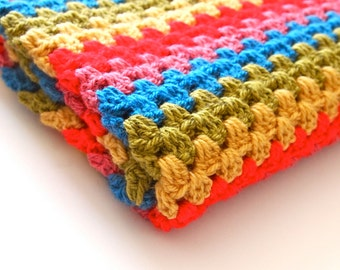 Rainbow crochet blanket, rainbow throw blanket, rainbow blanket, crochet throw