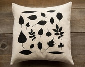 Organic Cotton Throw Pillow Botanical Screen Print