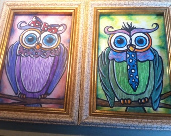 Made To Order Colorful Owls- No Frames