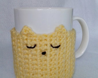 Sleepy cat mug cozy - mug sleeve - mug warmer - cup cozy - cup sleeve - cup warmer