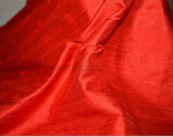Red Dupioni Silk fabric, Indian dupioni silk, raw silk fabric by yardage for bridesmaids dresses, pillows, cushions