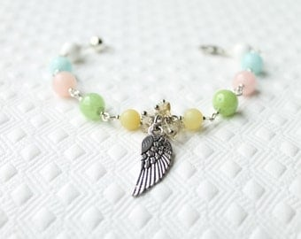 Gemstone bracelet, Natural Green Onyx, Pink, Blue and Lemon and Jade, Natural stone bracelet, hand-made jewelry