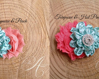 Summery Turquoise and Watermelon Pink Chiffon Flowers & Ribbon Flowers / Young Ladies/ Pick your Color! / Girls/ Photo Prop
